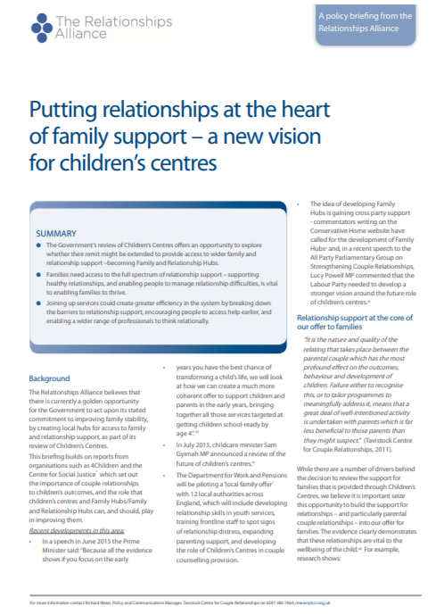 Putting Relationships at the Heart of Family Support – a New Vision for Children's Centres